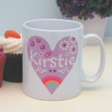 Personalised Rainbow Heart Mug - Special Christening or Baptism Gift